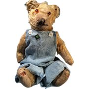 "Cute Antique 11"" Farmer Teddy Bear in Blue Overalls with His Own 4H Club Pin"