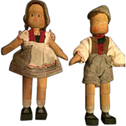 "Pair of 5"" Vintage Wood Swiss Boy & Girl Dolls Ethnic Outfits"