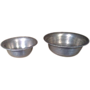Set of 2 Vintage Miniature German Kitchen Metal Nesting Bowls