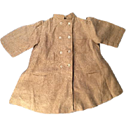 Wonderful Antique Brown Linen Duster Touring Doll Coat