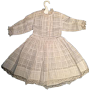 Antique Shear White Woven Plaid Fabric Doll Dress Lace Trim