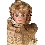 "11"" Bisque Head French Doll Lovely Beige or Off White Satin Custom Outfit with Antique Sh"