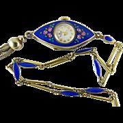 SALE PENDING Vintage Enameled Sterling Vermeil Bucherer Art Deco Pendant Watch & Chain ON LAYA