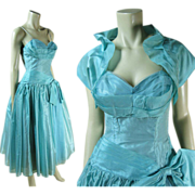 Sophisticated 1950's Shelf Bust Cocktail / Party Dress With Shrug