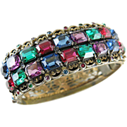 Radiant 1920's Vintage Gem-Tone Czech Glass Bracelet