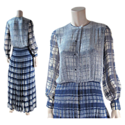Vintage 1970's Galanos Beaded Silk Chiffon Evening Dress