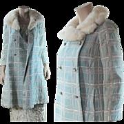 Vintage 1960's Silver Lamé / Lame A-Line Coat With White Mink Collar & Jewel ...