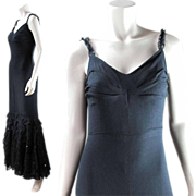 1930's Vintage Black Crepe And Lace Evening Gown With Sequins