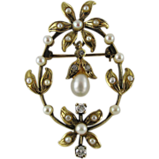 Antique Edwardian 14K Gold Diamond And Pearl Garland Era Pendant Brooch