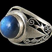 Vintage Sterling Silver Labradorite Shadowbox Ring