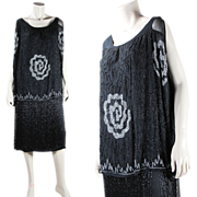 1920's Vintage Art Deco Beaded Flapper Dress With Fringed Skirt And Underdress