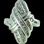 Vintage 14K White Gold Diamond Cocktail Ring Size 6 1/2