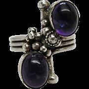 Vintage Sterling Silver & Amethyst Cabochon Modernist Ring Size 8 3/4