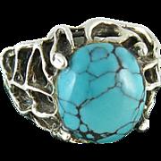 Vintage Modernist Sterling Silver & Turquoise Ring