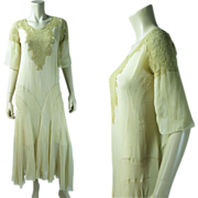 Gossamer Vintage 1920's Art Deco Silk Chiffon Crepe And Lace Dress With Underdress