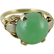 Vintage Two Color 14K Gold Ring With 4.5 Carat Green Jade Cabochon