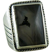 Vintage Men's Sterling Silver Ring With Vaulted Moss Agate Size 11