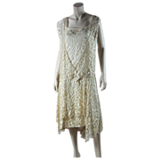 SOLD 1920's Honey Silk Lace Dress With Ivory Silk Charmeuse Underdress ON LAYAWAY