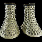 1930's Vintage Gold Glitter Celluloid & Rhinestone Heels