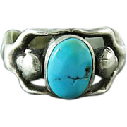 Vintage Art Deco Figural Nude 835 Silver Ring With Turquoise Cabochon Size 10