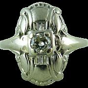 Stylish Art Deco Diamond Ring In 14K White Gold - Size 9