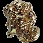 Vintage 18K Gold J.E. Caldwell Art Nouveau Lady Ring With Diamond Eye