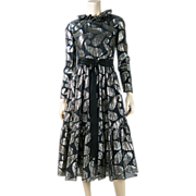 1960's Vintage Ceil Chapman Black And Silver Lamé Party Dress