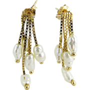 Vintage 14K Gold Five Strand Freshwater Pearl Fringe Earrings