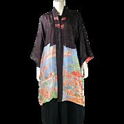 Vintage Art Deco Pongee Silk Damask Japanese Jacket / Robe