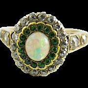 SOLD Antique Edwardian 14K Gold Diamond, Demantoid Garnet And Opal Ring