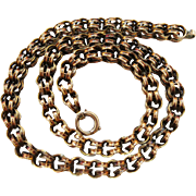 Antique Victorian 14K Gold Handmade Double Link Chain Necklace