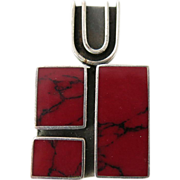 1960's Vintage Mexican Taxco Sterling Silver And Red Jasper Modernist Pendant