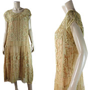 Vintage 1920's Ecru Lace Dress With Original Silk Charmeuse Underdress In Larger Size