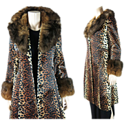Vintage 1960's Lilli Ann Leopard Print Fur Trimmed Coat