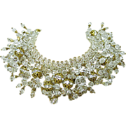 Extraordinary Vintage Lucite And Rhinestone Couture Runway Necklace