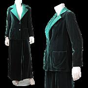 Luscious 1970's Oscar de la Renta Emerald Silk Velvet Skirt Suit
