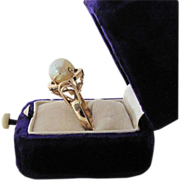 Vintage French 14k Gold Fine 8.28-mm Cultured Pearl Solitaire Ring