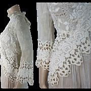 Lovely Antique Edwardian Rose Pattern Lace Jacket