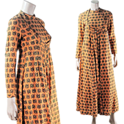 SOLD 1970's Vintage India Imports Of Rhode Island Printed Cotton Wrap Dress