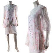 Vintage 1970's Zandra Rhodes Jeweled & Spangled Pink Silk Dress