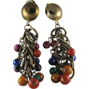 Showy Vintage Art Glass Bead Fringed Dangle Earrings 3 3/4-Inches