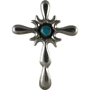 Vintage Southwestern Cast Sterling Silver And Turquoise Cross Pendant