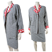 1980's Chanel Boutique Wool & Silk Houndstooth Skirt Suit With Polka Dots