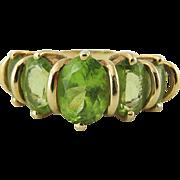 Lovely Vintage 14K Gold Five Stone Green Tourmaline Ring