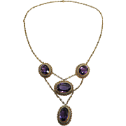 Antique Edwardian 14K Gold Amethyst And Seed Pearl Festoon Necklace