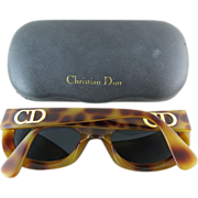 1980's Vintage Christian Dior #2974 Simulated Tortoise Sunglasses With Original Case Rare Mode