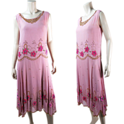 1920's Vintage Beaded Pink Silk Dress With Pink Rhinestones, Sequins And Appliques