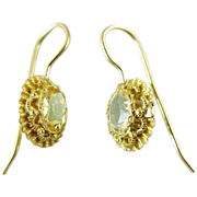 Vintage 18K Gold Citrine Earrings With Shepherd's Crook Wires