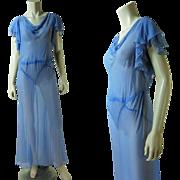 Fluttery vintage 1930's Periwinkle Blue Bias-Cut Silk Chiffon Dress