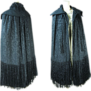 Chic Circa 1920 Silk Damask Cape With Silk & Chenille Fringe And Tassels